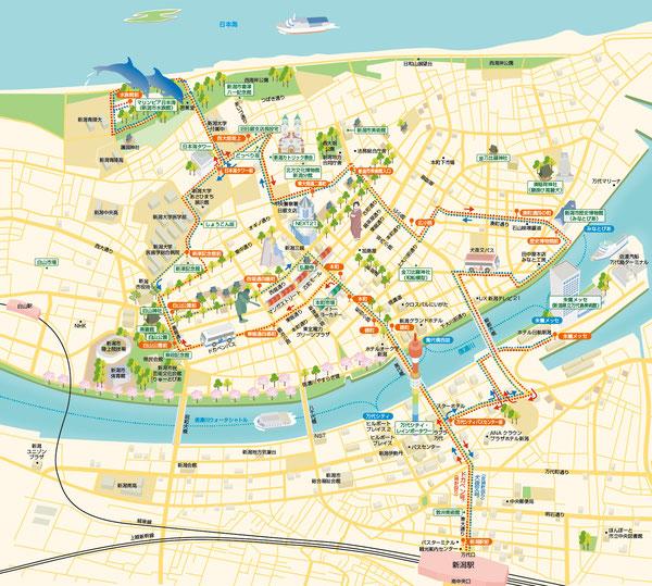 新潟市街イラストマップ