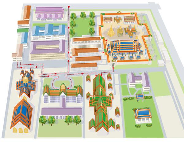 タイ・ワットプラケオ イラストマップ