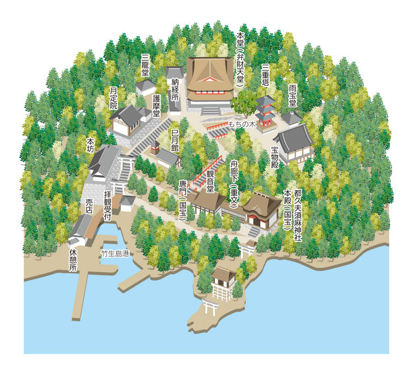 都久夫須麻神社境内マップ