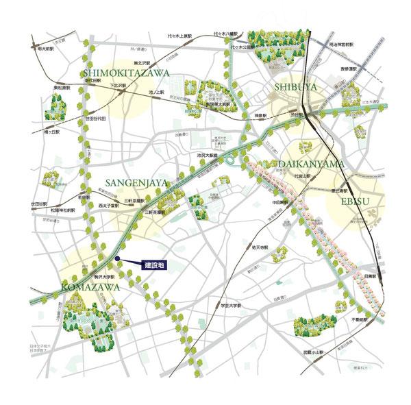 渋谷-駒沢 246号線 道路地図