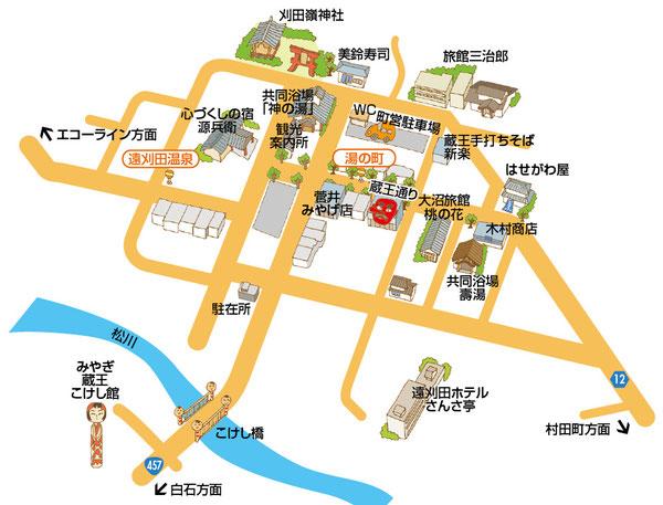 遠刈田温泉イラストマップ