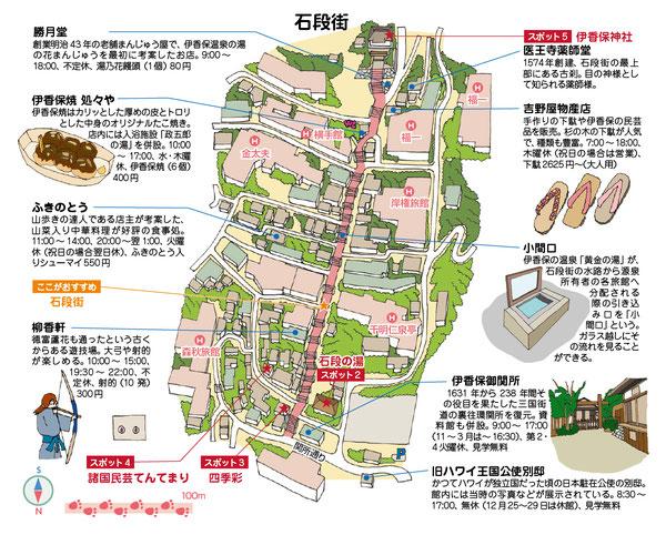 伊香保温泉イラストマップ
