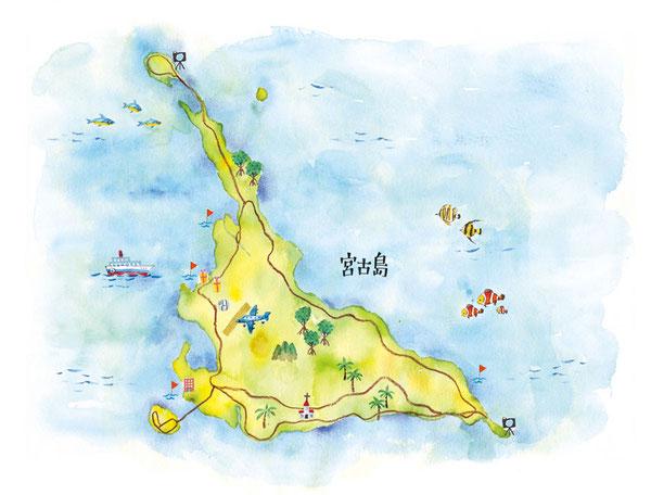 宮古島イラストマップ