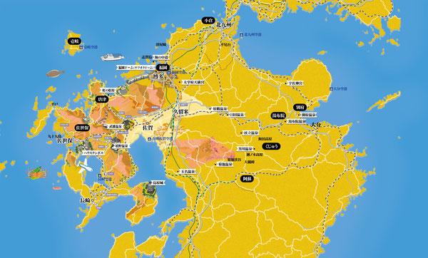 九州,観光マップ,地図,イラストマップ
