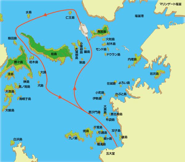 松島島巡りイラストマップ
