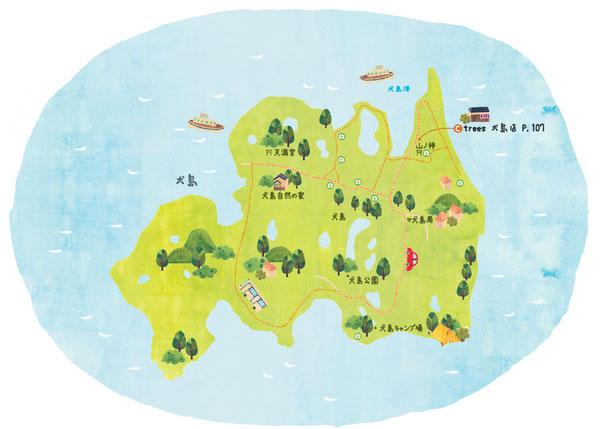 犬島イラストマップ