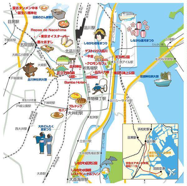 品川,イラストマップ,地図