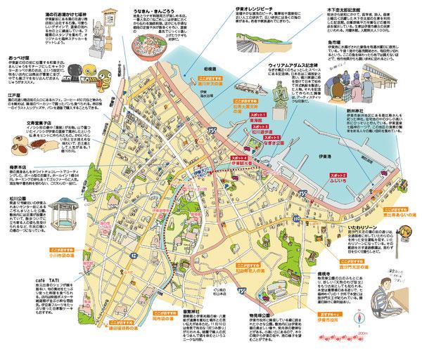 伊東温泉イラストマップ