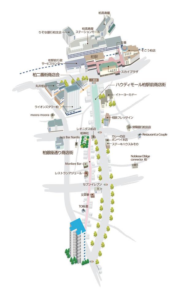 商店街を立体にしたマップ