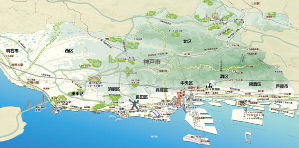 神戸,イラストマップ,地図