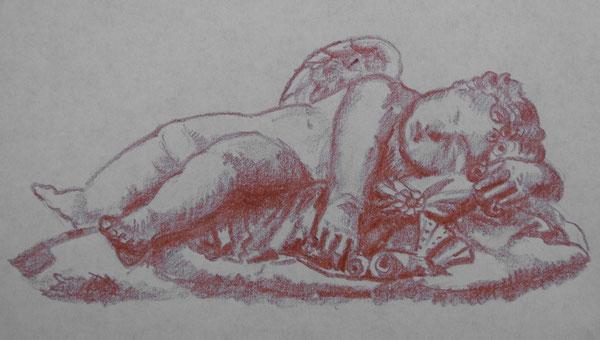 Cupido dormiente, romano, datato al II sec. d. C., Firenze, Uffizi