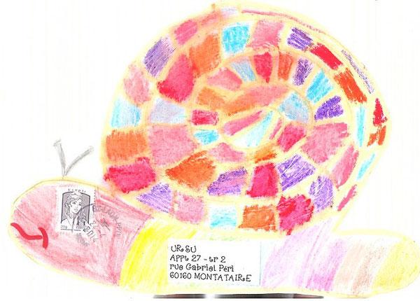 l'escargot de Louane me ravit par ses couleurs bien assorties....
