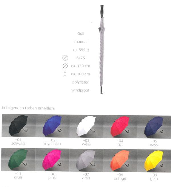 Golf A700 uni disponible en 10 couleurs, baleines en fibre de verre, windproof