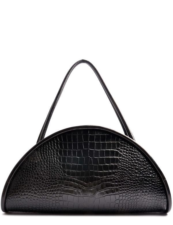 OSTWALD Bags . CALZONE . Tote bag . Icon Bag . black leather Shoulder bag. Shop online . Statement Bag .  embossed croc leather . Webshop