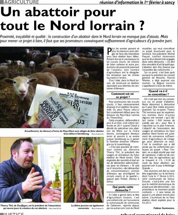 Edition RL Meurthe et Moselle du 26/01/12