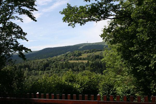 De la terrasse, vue sur Pierre sur Haute et sur les pistes de ski