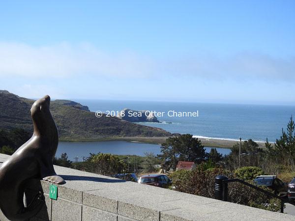 太平洋を望む風光明媚な場所にあります。アシカの像がふるさとの海を眺めています。