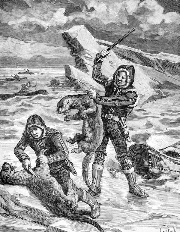 イヌイットのオッター猟師の版画。Picture:Alarmy