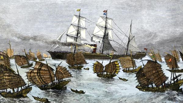 1880年代の快走帆船の一団。中国との間で茶や他の製品の輸送に使われた。Picture:Alarmy