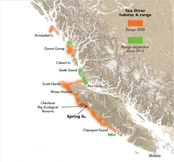 ラッコの生息域。オレンジ色は2008年の生息域。2013年から拡大している生息域は緑。