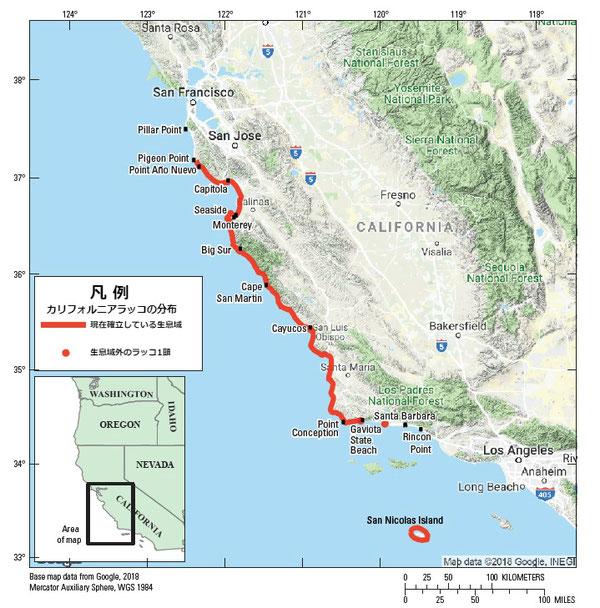 図1:カリフォルニアラッコのカリフォルニア本土中央沿岸部およびサンニコラス島における分布 2019年