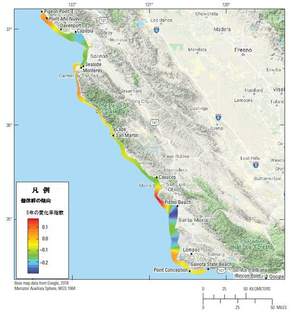 図5:カリフォルニア本土及び中央沿岸部沿いのカリフォルニアラッコラッコ(Enhydra lutris nereis)の地域的な豊度傾向。傾向は、海岸の各地点で最新の5年時系列に対数線形モデルを当てはめ推定された平均指数関数変化率log(λ)を計算し、10キロ移動平均を用いて空間的に平滑化したもの。