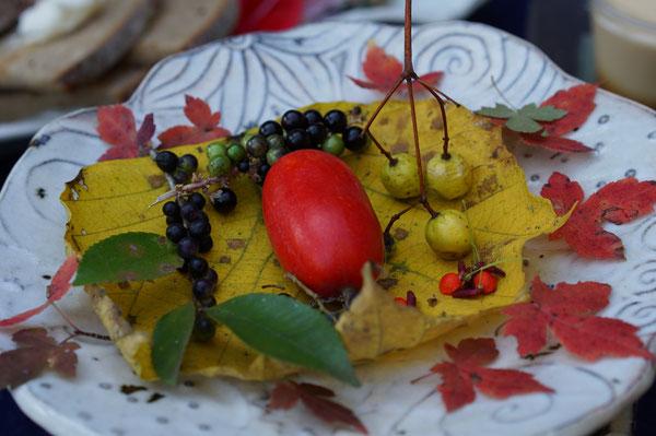 仲本律子 陶芸作品 女性陶芸家 焼き物 笠間市 粉引作品 紅葉 木の実
