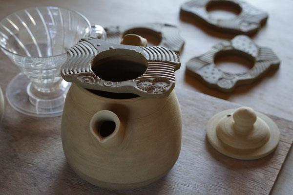 陶芸 ポット 土鍋ポット 耐熱作品 コーヒー コーヒーポット 火にかけられるポット