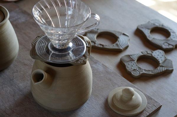 焼き物 陶芸 ポット 土鍋ポット 耐熱作品 コーヒー コーヒーポット 火にかけられるポット