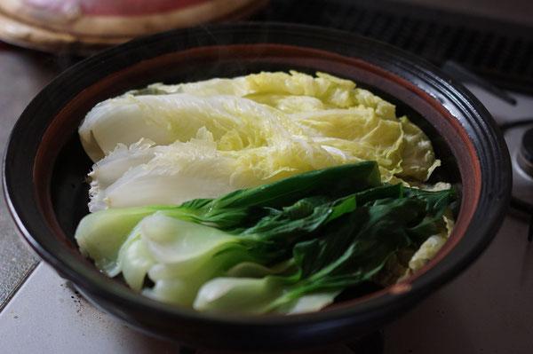 土鍋 作家物 耐熱作品 お浸し 土鍋料理 蒸し野菜 美味しい野菜 土鍋料理 陶芸家 白菜料理
