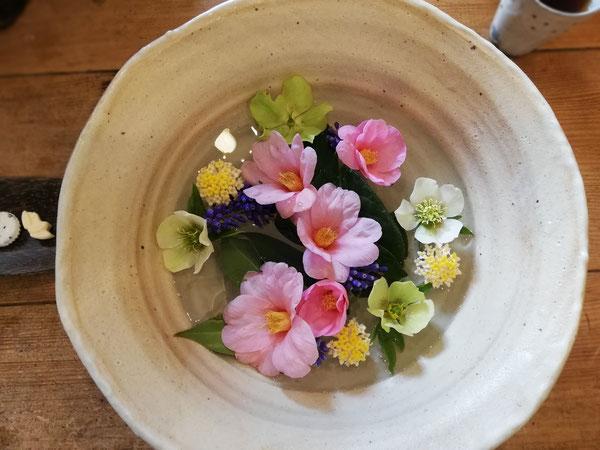 陶芸家のブログ 陶芸家 陶芸 笠間焼き 春の花 粉引大鉢 椿 ムスカリ クリスマスローズ みつまた