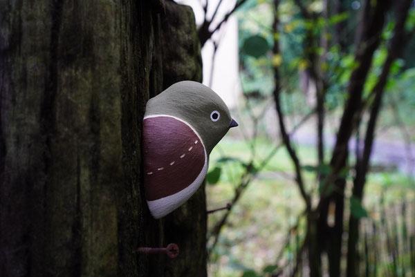陶芸家 焼き物 陶芸作品 茨城県笠間市 土鍋作品 粉引き作品 野鳥 鳥の飾り かわいい壁飾り 陶器の鳥 鳥 メジロ