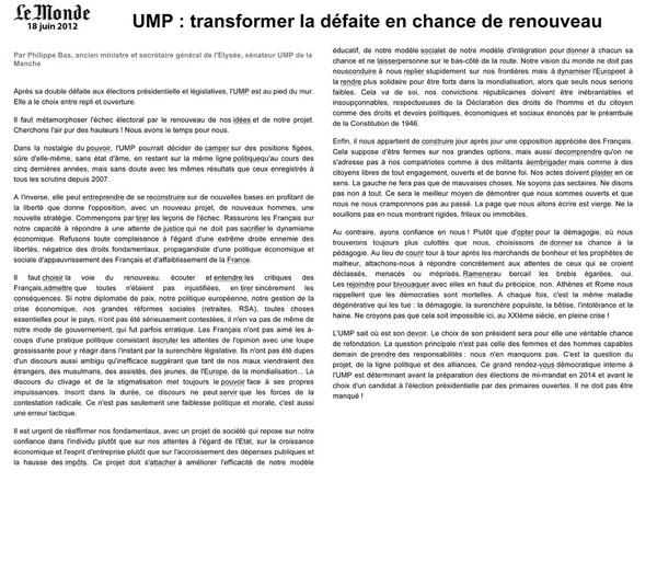 Tribune Le Monde 18.06.12