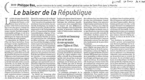 Article la Croix sur la laïcité, 16.10.2008