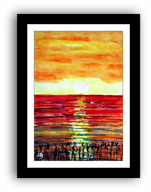 Landschaft-Aquarellmalerei-Meer-Sonnenuntergang-Küste-See-Moderne Malerei-Aquarellbild-Aquarell-Kunst-Gemälde-Malerei