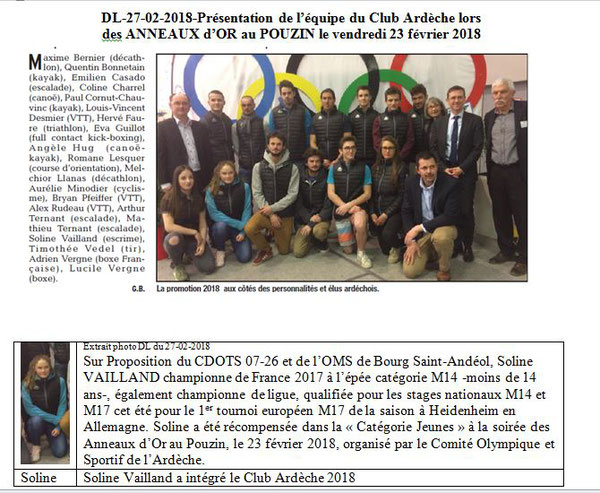 Dauphiné Libéré  du 27-02-2018