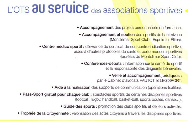 Les services de l'OTS  aux associations