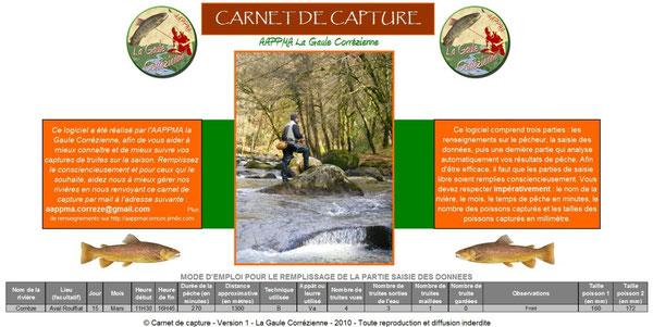 Carnet de capture truite