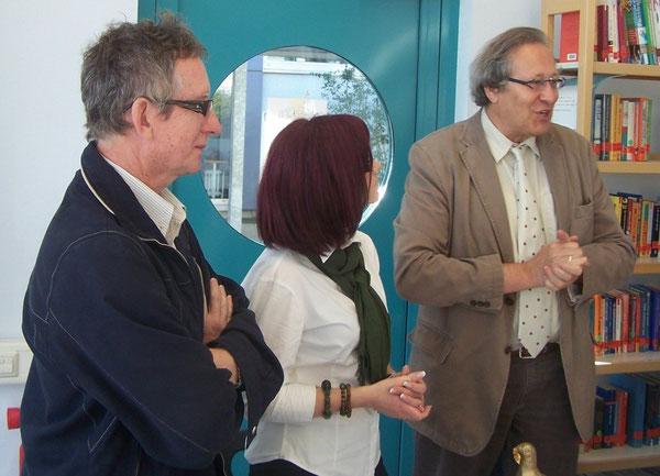 Jurek Kulpa und Monika Kokol (die betreuenden Lehrer der polnischen AustauschschülerInnen) sowie unser Schulleiter Joachim Paul bei der offiziellen Begrüßung