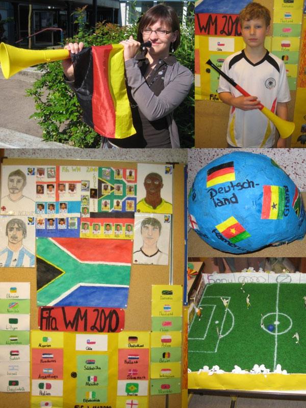 Oben sieht man Frau Siegwarth an der Vuvuzela, unten einige Ergebnisse des Projektes