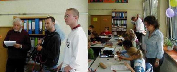 Bild links: Paul Schwarz (SWR) mit seinem Team, Bild rechts: Frau Nedda Aschbach, Deutschlehrerin der Klasse 5b