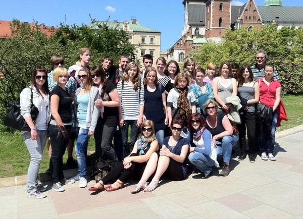 Die Austauschgruppe auf dem Wawel