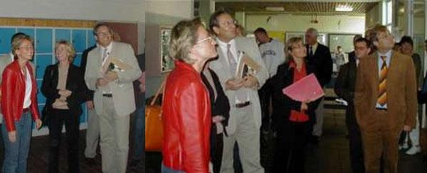 Bild links: MdL Frau Schleicher-Rothmund, Frau Ahnen und Rektor Paul --- Bild rechts: MdL Frau Schleicher-Rothmund, Rektor Paul, Frau Schönenberg (pers. Referentin der Ministerin) sowie Bürger- meister Seiter
