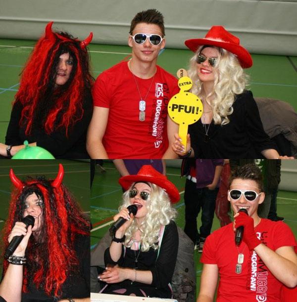 Frau Stolz, Selina Zemski (10c) und Max Krämer (9d)