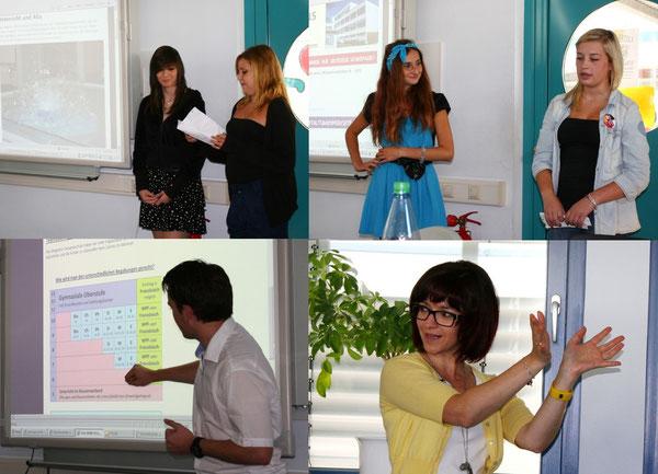 Schülerinnen und Schüler der Klasse 9c stellen den polnischen Gästen die Realschule plus, Herr Borm die IGS vor. Die polnische Lehrerin Monika Kocol dolmetscht.