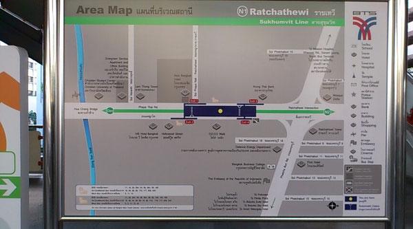 ラチャテウィー駅周辺マップ