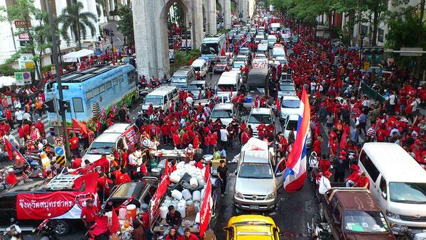 バンコク都内ラチャプラソン交差点を中心として行われた大規模デモが起きた交差点