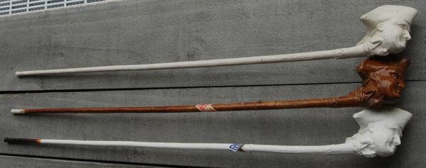 3 Varianten, steellengte ca 55 cm, op ene zijde steel de tekst 'SAINT NICHOLAS SOCIETY', op andere zijde 'NEW YORK'