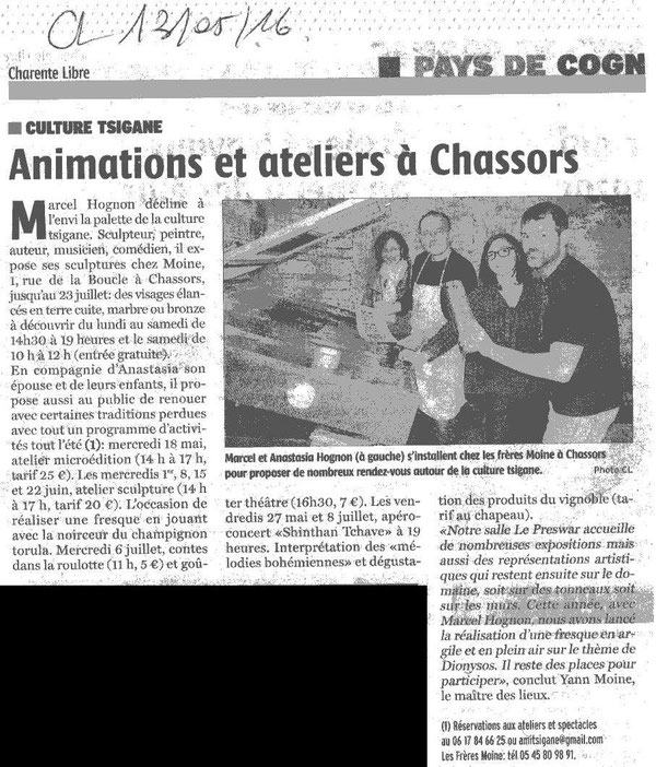 ARTICLE CHARENTE LIBRE 13 MAI 2016