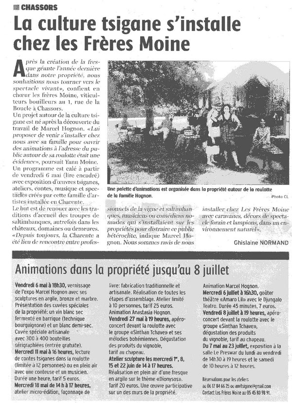Article Charente Libre du 13-04-2016